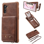 For Galaxy Note 10 Vertical Flip Wallet Shockproof Back Cover Protective Case with Holder & Card Slots & Lanyard & Photos Frames(Coffee)