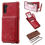 For Galaxy Note 10 Vertical Flip Wallet Shockproof Back Cover Protective Case with Holder & Card Slots & Lanyard & Photos Frames(Red)