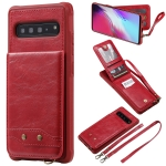 For Galaxy S10 5G Vertical Flip Wallet Shockproof Back Cover Protective Case with Holder & Card Slots & Lanyard & Photos Frames(Red)