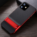 For iPhone 11 Plaid Texture Non-slip TPU + PC Case with Holder(Red)