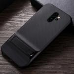 For Xiaomi Redmi Note 8 Pro Plaid Texture Non-slip TPU + PC Case with Holder(Black)