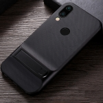 For Xiaomi Redmi Note 7 Plaid Texture Non-slip TPU + PC Case with Holder(Black)