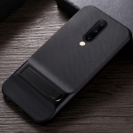 For OnePlus 7 Pro Plaid Texture Non-slip TPU + PC Case with Holder(Black)