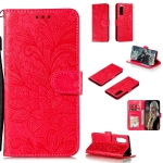 For Sony Xperia 5 Lace Flower Horizontal Flip Leather Case with Holder & Card Slots & Wallet & Photo Frame(Red)