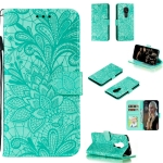 For Nokia 7.2 Lace Flower Horizontal Flip Leather Case with Holder & Card Slots & Wallet & Photo Frame(Green)
