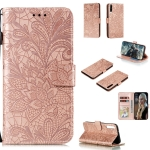 For Huawei Honor Play 3 Lace Flower Horizontal Flip Leather Case with Holder & Card Slots & Wallet & Photo Frame(Rose Gold)