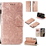 For Galaxy A70s Lace Flower Horizontal Flip Leather Case with Holder & Card Slots & Wallet & Photo Frame(Rose Gold)