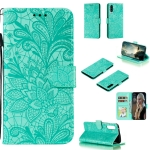 For Galaxy A90 5G Lace Flower Horizontal Flip Leather Case with Holder & Card Slots & Wallet & Photo Frame(Green)