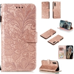 For Xiaomi Mi 9 Pro Lace Flower Horizontal Flip Leather Case with Holder & Card Slots & Wallet & Photo Frame(Rose Gold)