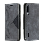 For Xiaomi Mi CC9e / Mi A3 Splicing Color Magnetic Hem Horizontal Flip Leather Case with Holder & Card Slots(Grey)