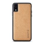 For iPhone XR WHATIF Kraft Paper TPU + PC Full Coverage Protective Case(Brown)