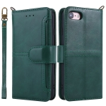 For iPhone 8 / 7 Lambskin Texture Horizontal Flip PU Leather Case with Holder & Card Slots & Frame & Lanyard(Green)