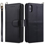 For iPhone XS Max Lambskin Texture Horizontal Flip PU Leather Case with Holder & Card Slots & Frame & Lanyard(Black)