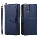 For iPhone 11 Pro Max Lambskin Texture Horizontal Flip PU Leather Case with Holder & Card Slots & Frame & Lanyard(Dark Blue)