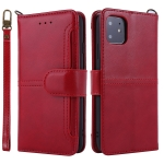 For iPhone 11 Lambskin Texture Horizontal Flip PU Leather Case with Holder & Card Slots & Frame & Lanyard(Red)