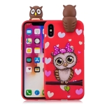 For iPhone X / XS Shockproof Cartoon TPU Protective Case(Red Owl)