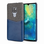For Huawei Mate 20 / Mate 20X PC + PU Splicing Case with Card Slots(Blue)