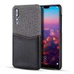 For Huawei P20 Pro PC + PU Splicing Case with Card Slots(Black)