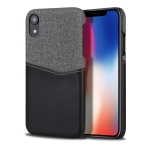 For iPhone XR PC + PU Splicing Case with Card Slots(Black)