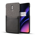 For OnePlus 6T PC + PU Splicing Case with Card Slots(Black)