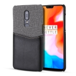 For OnePlus 6 PC + PU Splicing Case with Card Slots(Black)