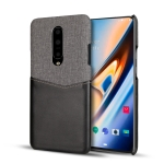 For OnePlus 7 Pro PC + PU Splicing Case with Card Slots(Black)