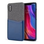 For Xiaomi Mi 8 Explorer/Mi 8 Pro PC + PU Splicing Case with Card Slots(Blue)