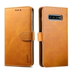 For Galaxy S10+ GUSSIM Business Style Horizontal Flip Leather Case with Holder & Card Slots & Wallet(Khaki)