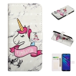 For Y7 2019 Embossed Painted Pattern Left Right Leather case with Stand & Card Slot & Wallet & Photo Frame(Marble Unicorn)