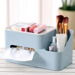 Creative Multi-function Tissue Box Simple Household Plastic Desktop Storage Box, Size:24.5x13x13cm (Blue)