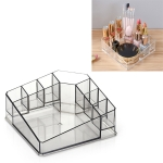 Desktop Makeup Box Transparent Lipstick Multi-function Desktop Cosmetics Shelf Storage Box (Black)