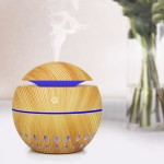 Wood Grain USB Hollowed-out Humidifier Seven Color Aromatherapy Lamp with Remote Control(Light Brown-2)