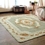 Rose Pattern Fuzzy Living Room Carpet Bedroom Bedside Mat, Size: 1.2m x 1.8m (Green)