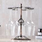 Iron Hanging Wine Glass Shelf Drain Rack Flower Core Cup Holder