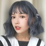 Air Bangs Age Reduction Short Curls Hair Wig Headgear for Women (Gray Blue)