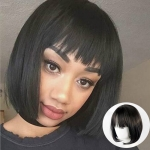 Neat Bang Bobo Short Straight Hair Wig Chemical Fiber Hair Headgear for Women (Black)
