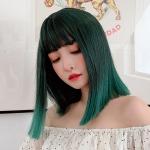 Air Bangs Short Straight Hair Wig Cosplay Headgear for Women (Black Brown Gradient Peacock Green)