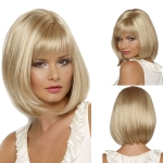 Short Straight Hair Bob Haircut Wig Chemical Fiber Hair Headgear for Women (Champagne Gold)