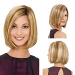 Bob Haircut Wig Headgear for Women (Linen Gold)