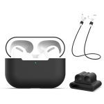 For AirPods Pro 3 in 1 Silicone Earphone Protective Case + Earphones Buckle + Anti-lost Rope Set (Black)