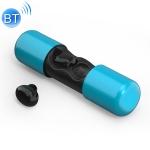 V9 Stereo Ergonomic Design Binaural Bluetooth 5.0 Earphone with Charging Box (Blue)