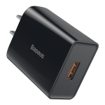 Baseus 18W Speed Mini PD Single USB Power Adapter QC Quick Charger, CN Plug (Black)