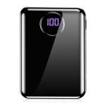 KUULAA KY-YD03 10000mAh Portable Smooth Surface Digital Display Charging Power Bank(Black)