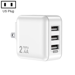 TOTUDESIGN CACA-023 Sharp Series 2.4A Three USB Travel Charger Power Adapter, US Plug (White)