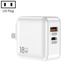 TOTUDESIGN HTY-0902000 Sharp Series 18W PD + QC 3.0 Dual USB Travel Charger Power Adapter, US Plug(White)