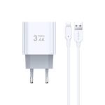 TOTUDESIGN Minimal Series CACA-021 3.4A Dual 8 Pin Ports Travel Charger + 8 Pin Data Cable Set, EU Plug