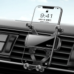 ROCK Car Air Outlet Gravity Mobile Phone Holder Bracket, Hidden Mirror Version (Black)