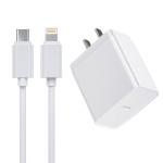 ROCK T12 Pro PD Single USB Port Travel Charger Power Adapter with Tpye-C / USB-C to 8 Pin Charging Cable (White)
