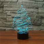 Christmas Tree Shape 3D Colorful LED Vision Light Table Lamp, Charging Touch Version