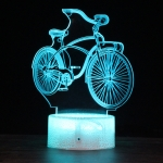 DC01 Crack Base Bicycle Creative 3D Colorful LED Decorative Night Light, USB with Touch Button Version